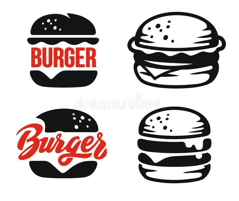 Het embleem van het hamburgerembleem stock illustratie