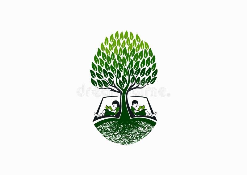 Het embleem van het boomonderwijs, het vroege pictogram van de boeklezer, het symbool van de schoolkennis en de studieconceptontw vector illustratie
