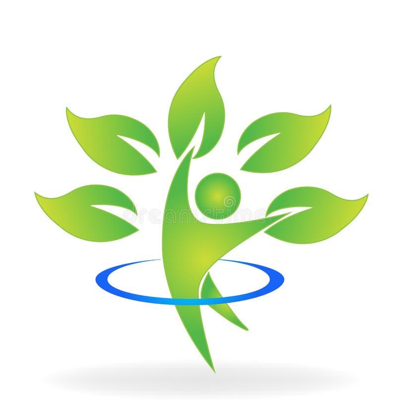Het embleem van het de boomcijfer van de gezondheidsaard vector illustratie