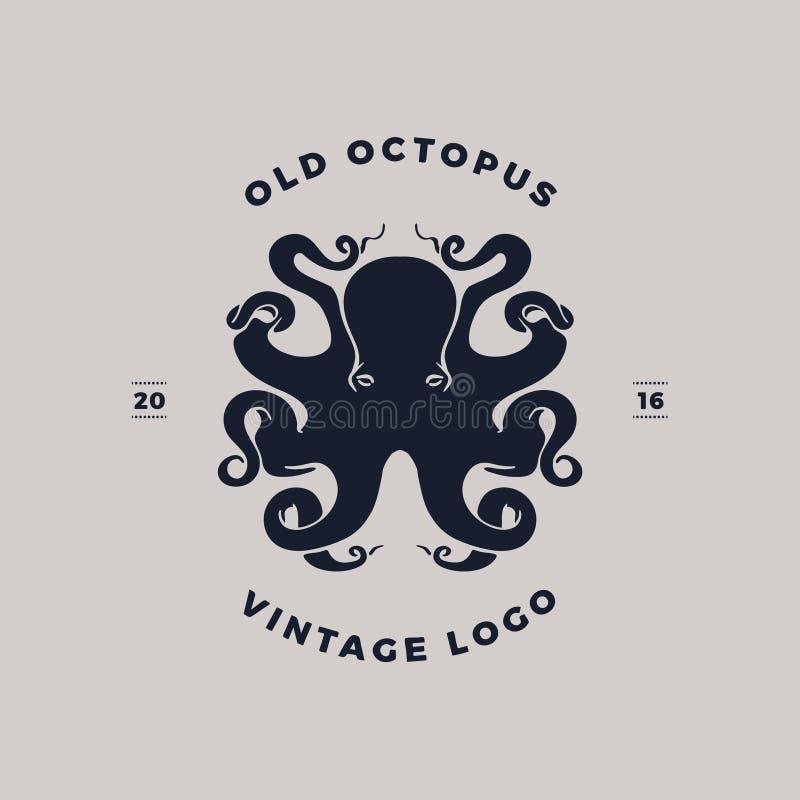 Het embleem van het octopussilhouet vector illustratie