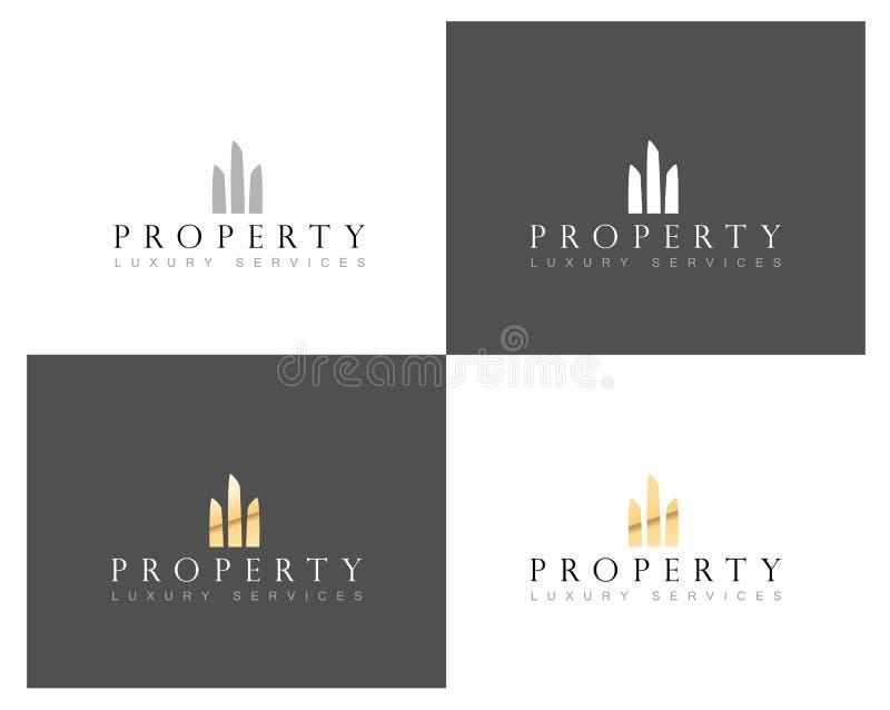 Het embleem van het onroerende goederenhuis, huisbezit en bouwconstructieembleem, vectormalplaatje vector illustratie