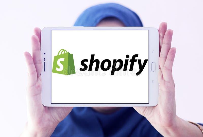 Het embleem van het Shopifybedrijf stock foto's