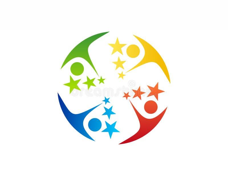 Het embleem van het teamwerk, onderwijs, het pictogramsymbool van vieringsmensen royalty-vrije illustratie