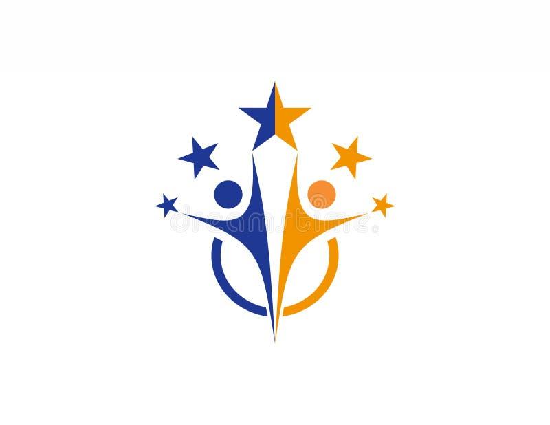 Het embleem van het teamwerk, partnesrship, onderwijs, het pictogramsymbool van vieringsmensen vector illustratie