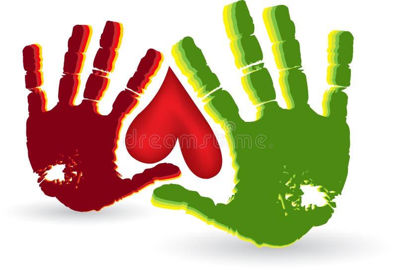 Het embleem van het twee handhart vector illustratie