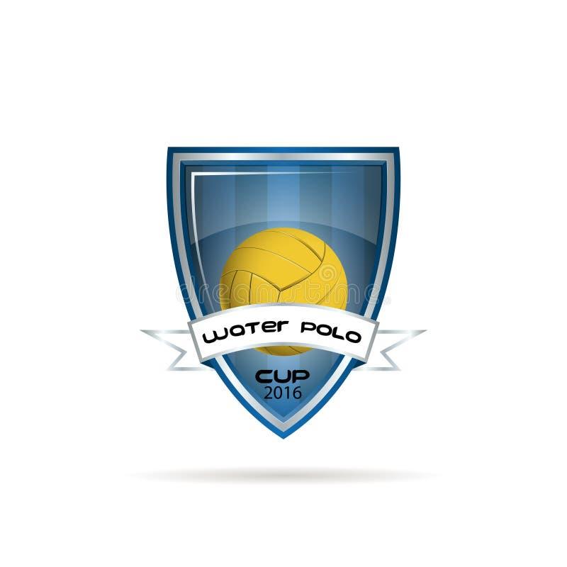 Het embleem van het waterpolo voor het team en de kop stock illustratie