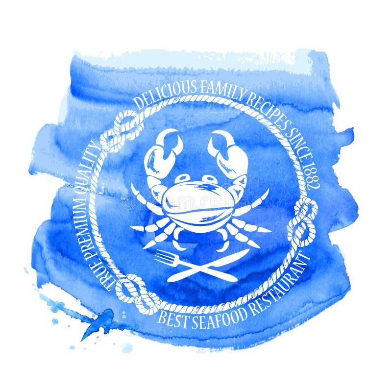 Het embleem van het zeevruchtenrestaurant met krab vector illustratie