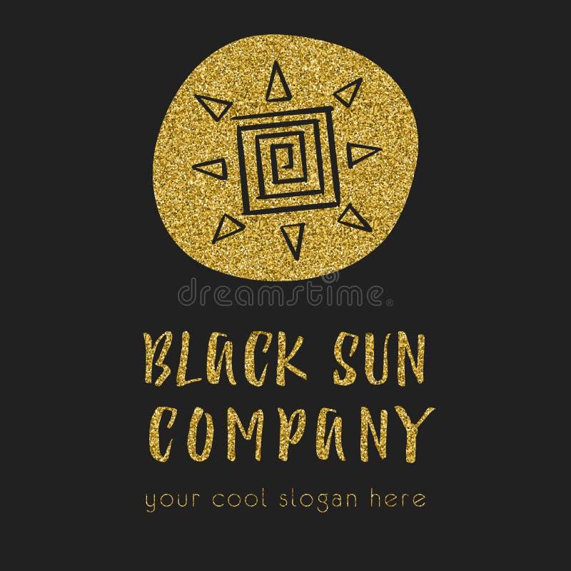 Het embleem van het zonbedrijf met de ter beschikking getrokken van het zonpictogram stijl Bedrijfsidee voor reisbedrijven of kle royalty-vrije illustratie