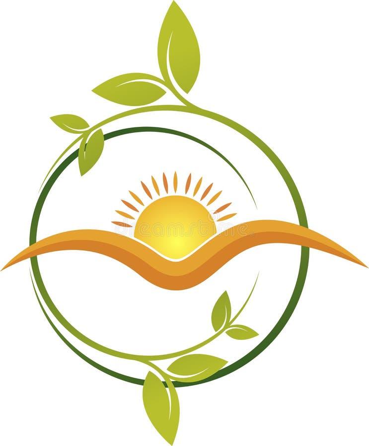 Het embleem van het zonblad vector illustratie