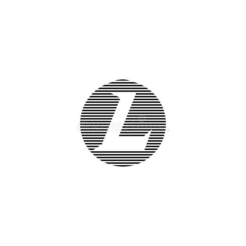 Het embleem van hoofdletterl op de gestreepte cirkelvorm Monogram modern embleem aanvankelijk voor element van het adreskaartje h stock illustratie