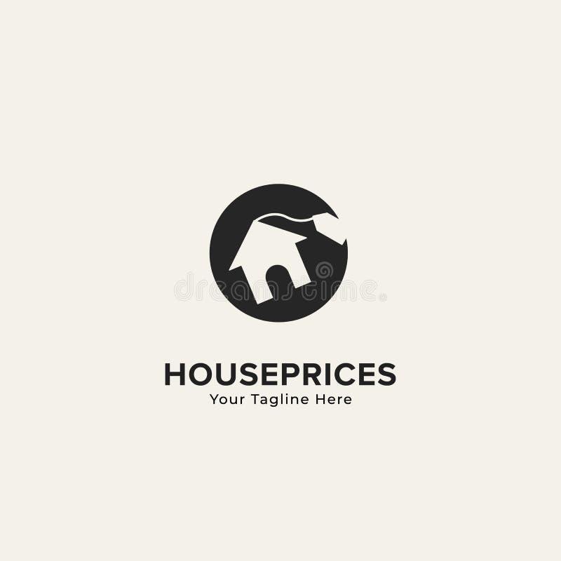 Het embleem van het huisprijzen van het bezitshuis met huispictogram en het etiket etiketteren prijs binnen zwarte ronde cirkel vector illustratie