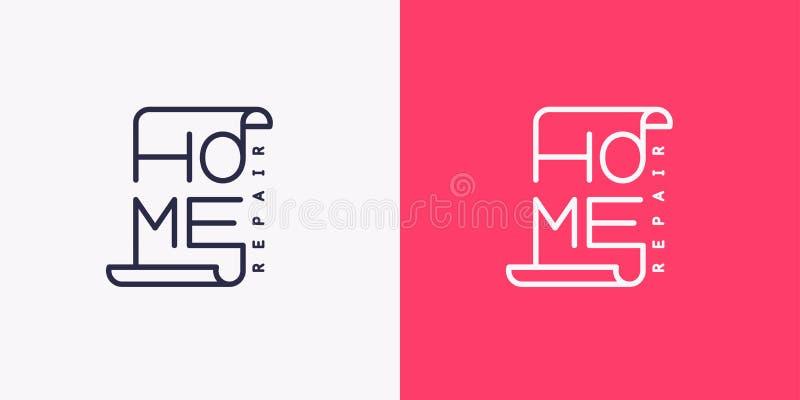 Het embleem van huisreparatie Moderne vectorillustratie vector illustratie