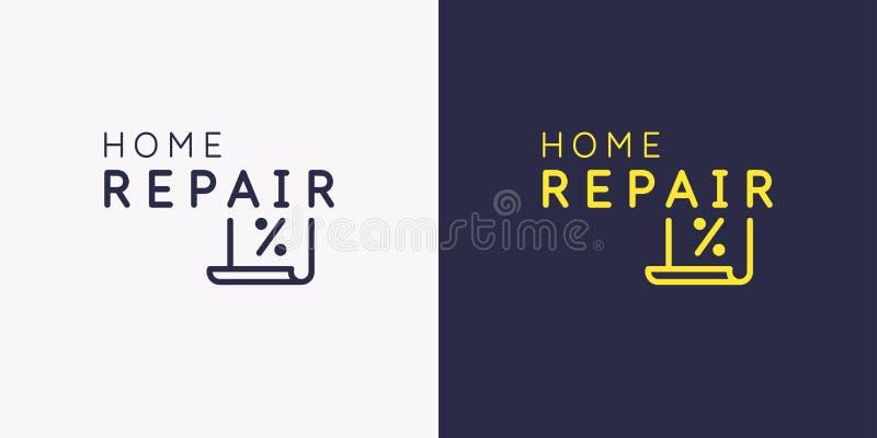 Het embleem van huisreparatie Sticker op het winkelvenster Vector illustratie royalty-vrije illustratie