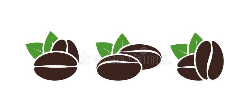 Het embleem van koffiebonen Geïsoleerde coffe bonen op witte achtergrond vector illustratie