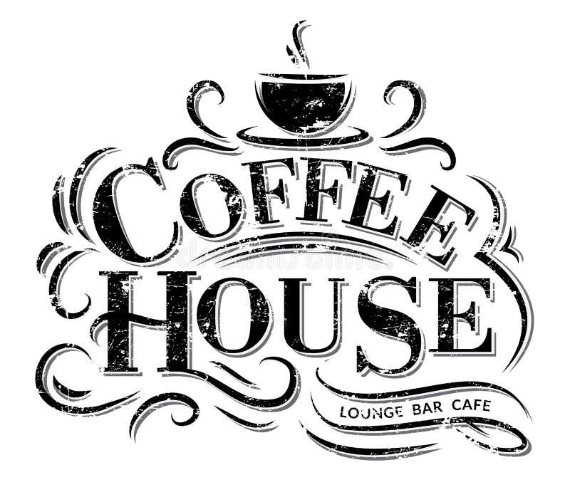 Het Embleem van het koffiehuis met geïsoleerd grungeeffect op witte achtergrond vector illustratie
