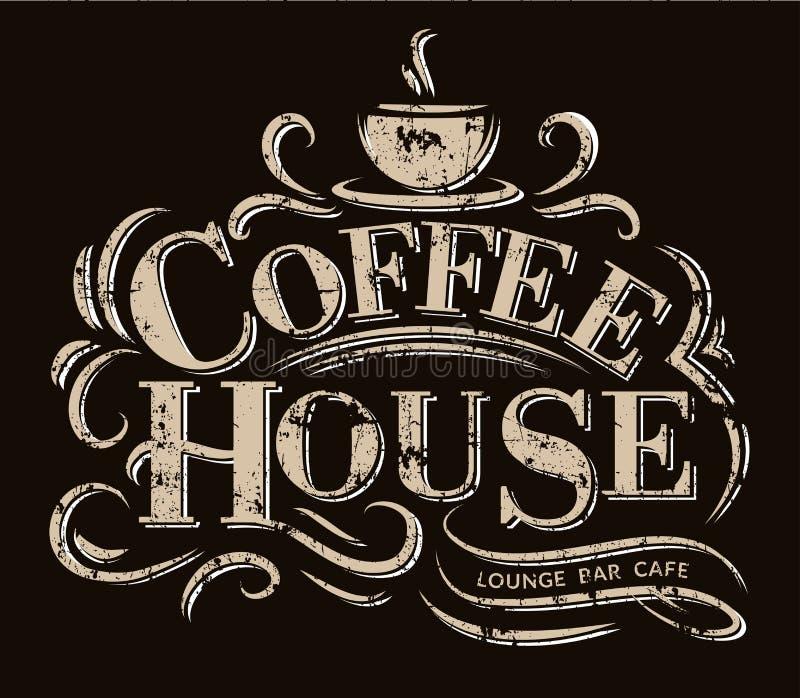 Het Embleem van het koffiehuis met grungeeffect Retro koffieembleem Vector illustratie stock illustratie