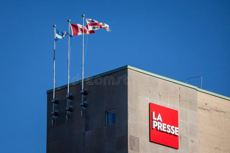 Het embleem van La Presse op hun hoofdbureau in Montreal, Quebec La Presse is een digitale krant van Quebec en een nieuwswebsite royalty-vrije stock foto