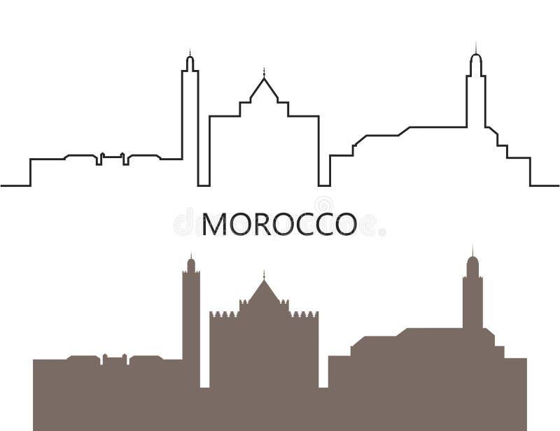 Het embleem van Marokko Ge?soleerde Marokkaanse architectuur op witte achtergrond stock illustratie