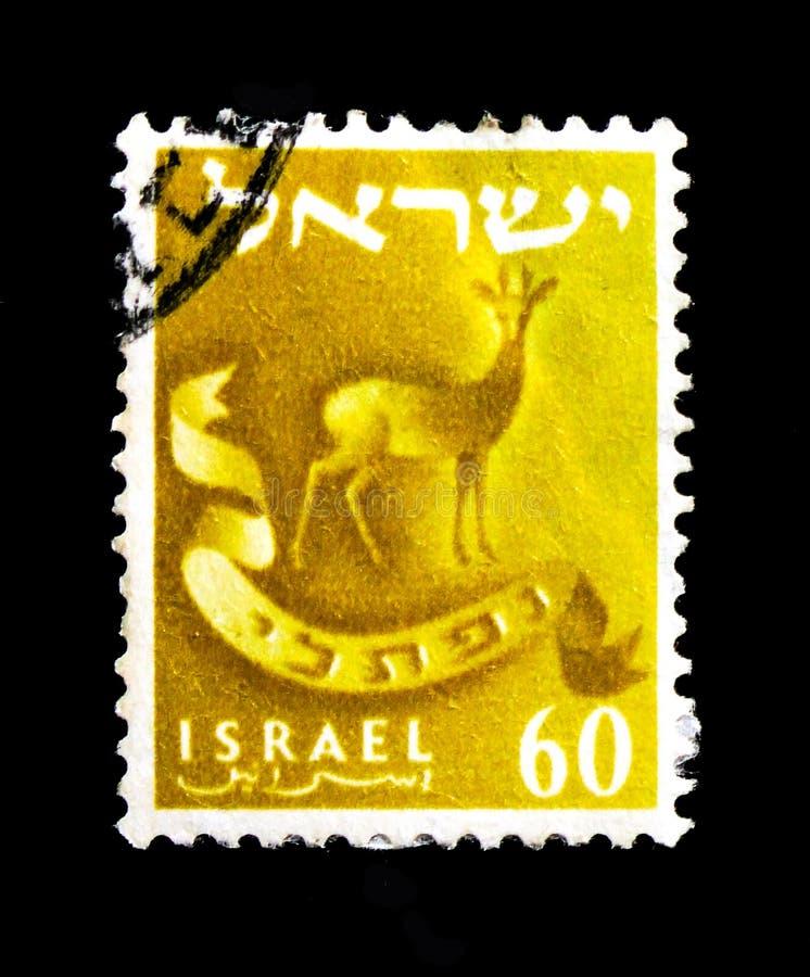 Het embleem van Naphtali-stamgazelle, serie, circa 1955 stock afbeeldingen