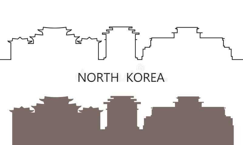 Het embleem van Noord-Korea Ge?soleerde het Noorden Koreaanse Architectuur op witte achtergrond vector illustratie
