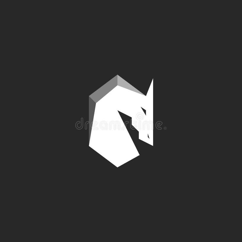Het embleem van het paardhoofd, abstract cijfer van een hengst met manen, silhouet van een mustang zwart-witte grafische illustra vector illustratie