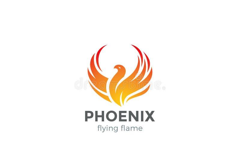 Het Embleem van Phoenix het vliegen de vector van het vogelontwerp royalty-vrije illustratie