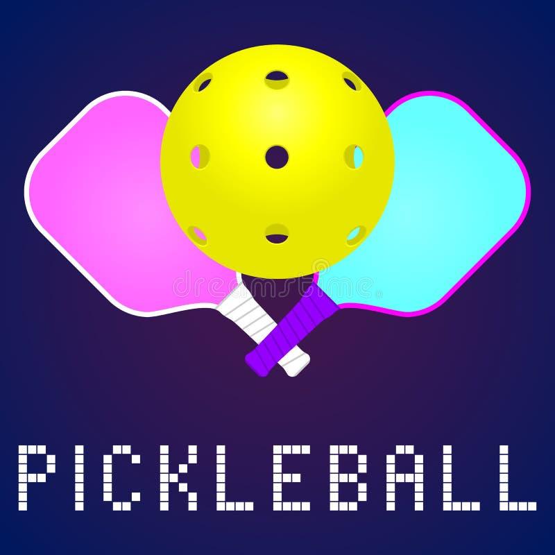 Het embleem van het Pickleballspel royalty-vrije illustratie