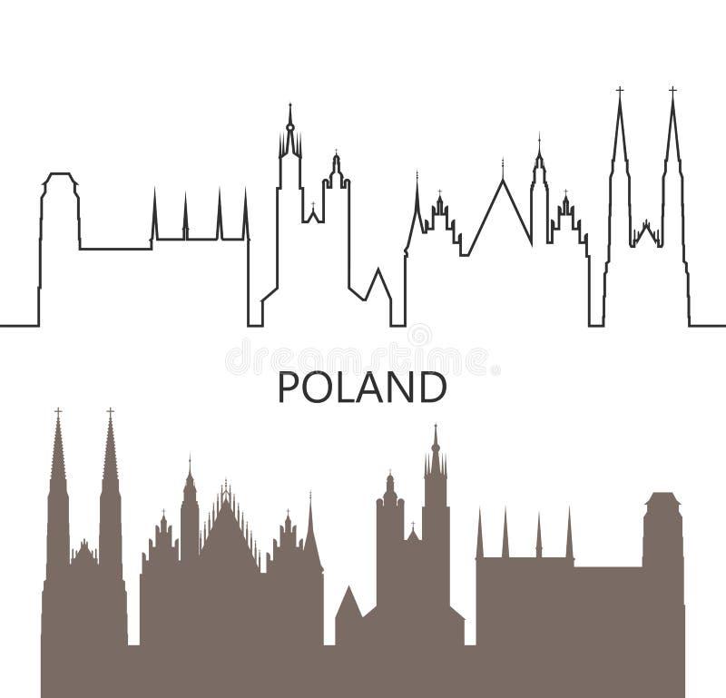 Het embleem van Polen Ge?soleerde Poolse architectuur op witte achtergrond stock illustratie