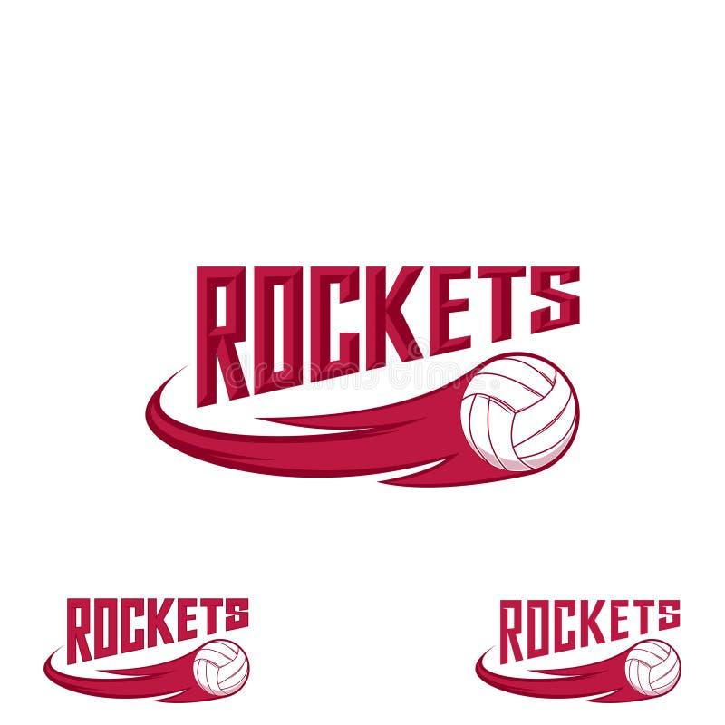 Het embleem van het raketvolleyball voor het team en de kop stock illustratie