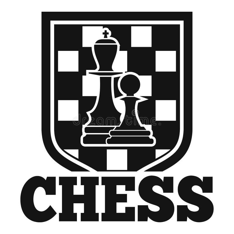 Het embleem van het schaakembleem, eenvoudige stijl stock illustratie