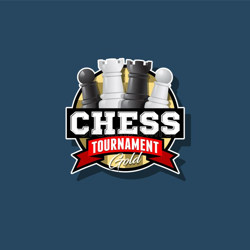 Het embleem van schaaktoernooien Het embleem van de schaakconcurrentie Schaak en lint met brieven vector illustratie