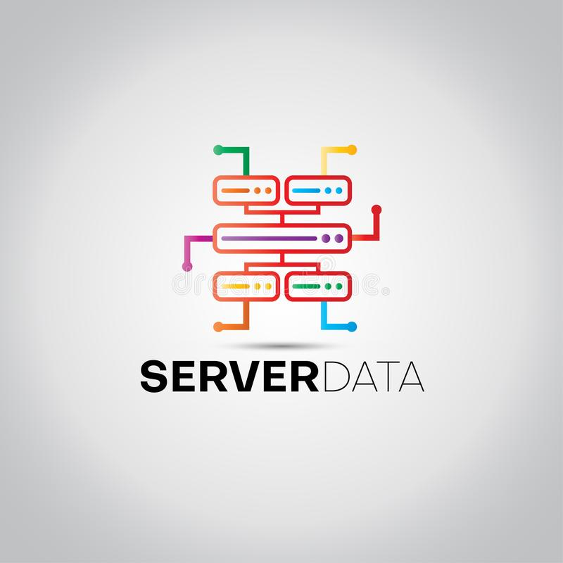 Het Embleem van server Digitale Gegevens vector illustratie