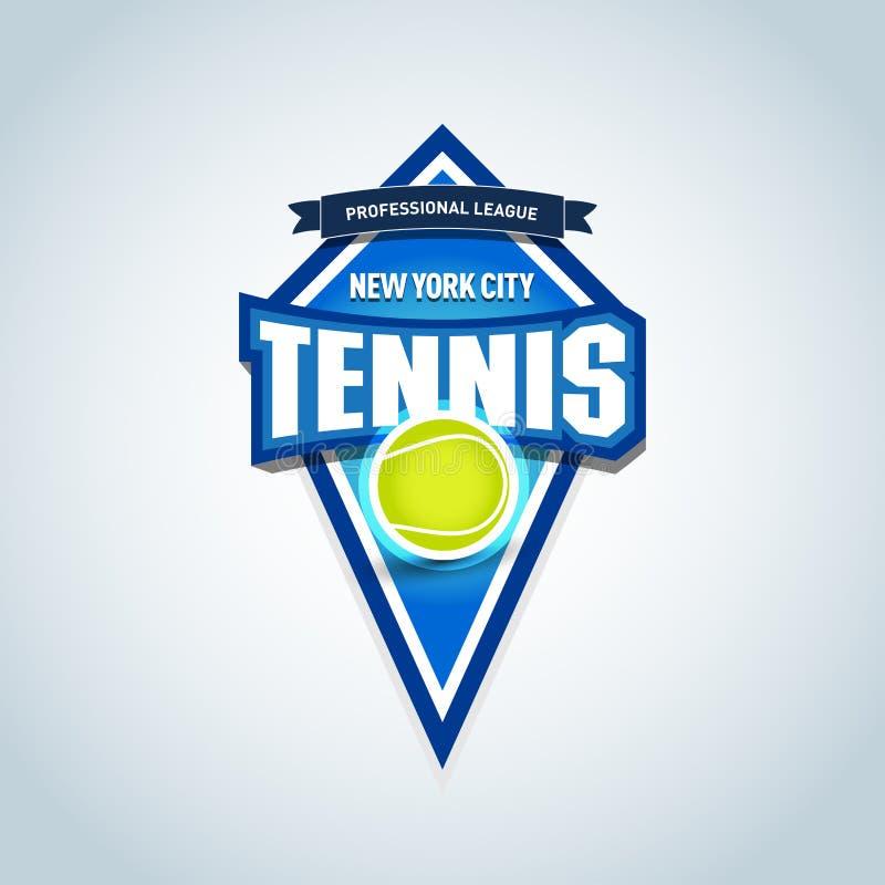 Het embleem van tennissporten, etiket, embleem Het tennis geïsoleerde malplaatje van het kentekenembleem, de grafiek van de sport stock illustratie