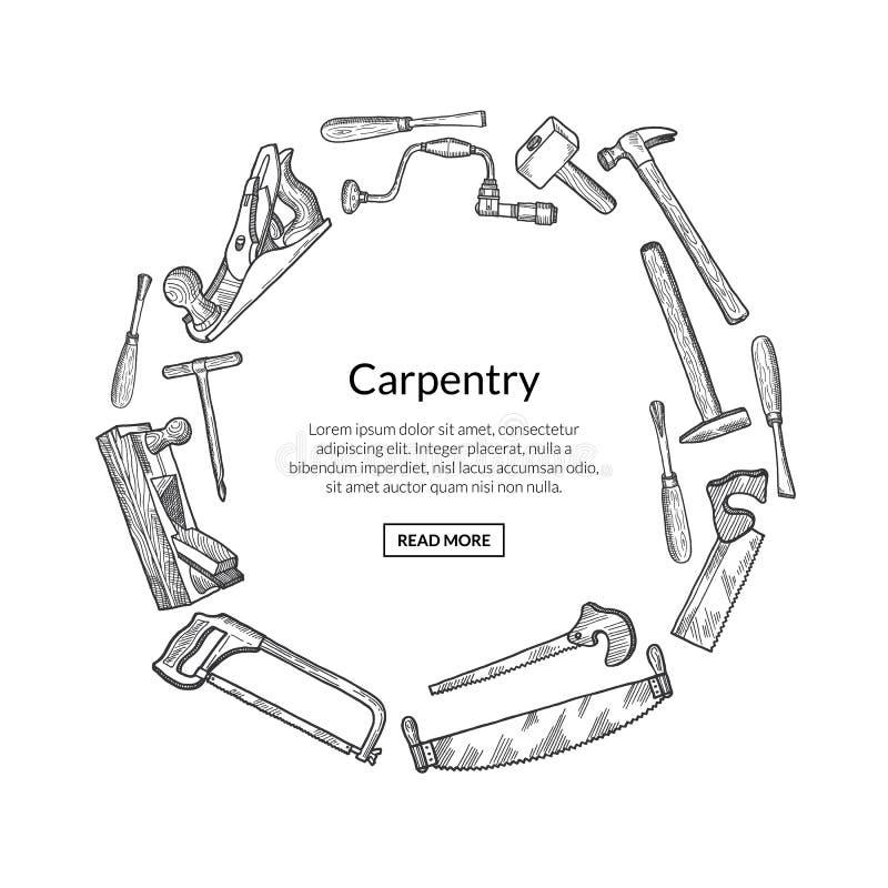 Het embleem van timmerwerkelementen met plaats voor tekstillustratie vector illustratie