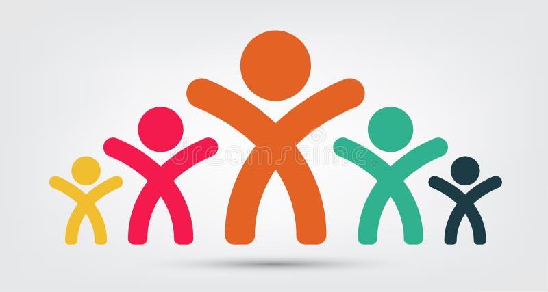 Het embleem van vergaderzaalmensen de groep van vier personengroepswerk isoleert op Witte Achtergrond, Vectorillustratie vector illustratie