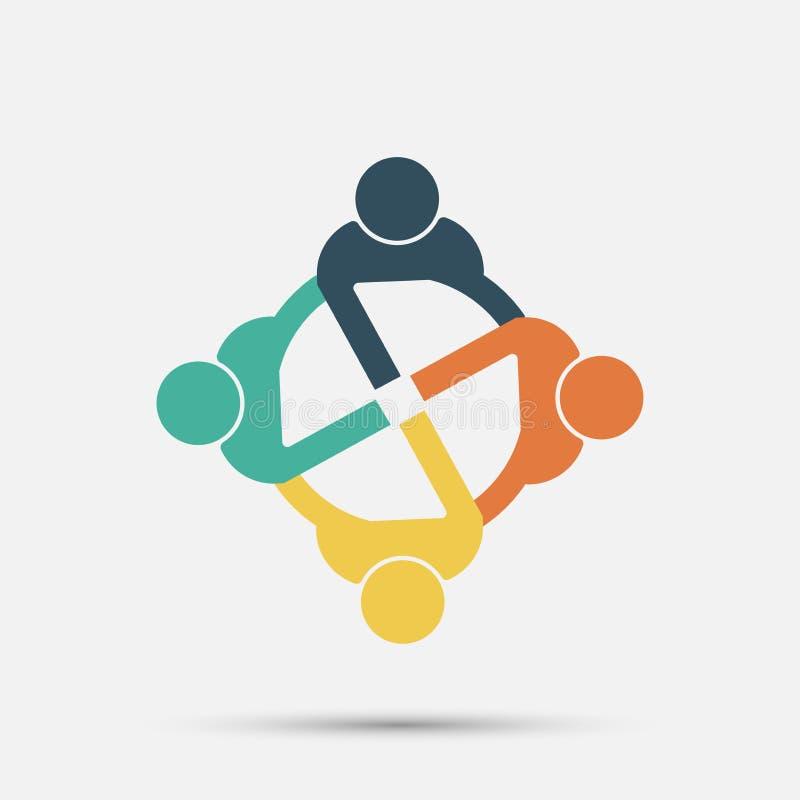 Het embleem van vergaderzaalmensen groep van vier personen in cirkel stock illustratie