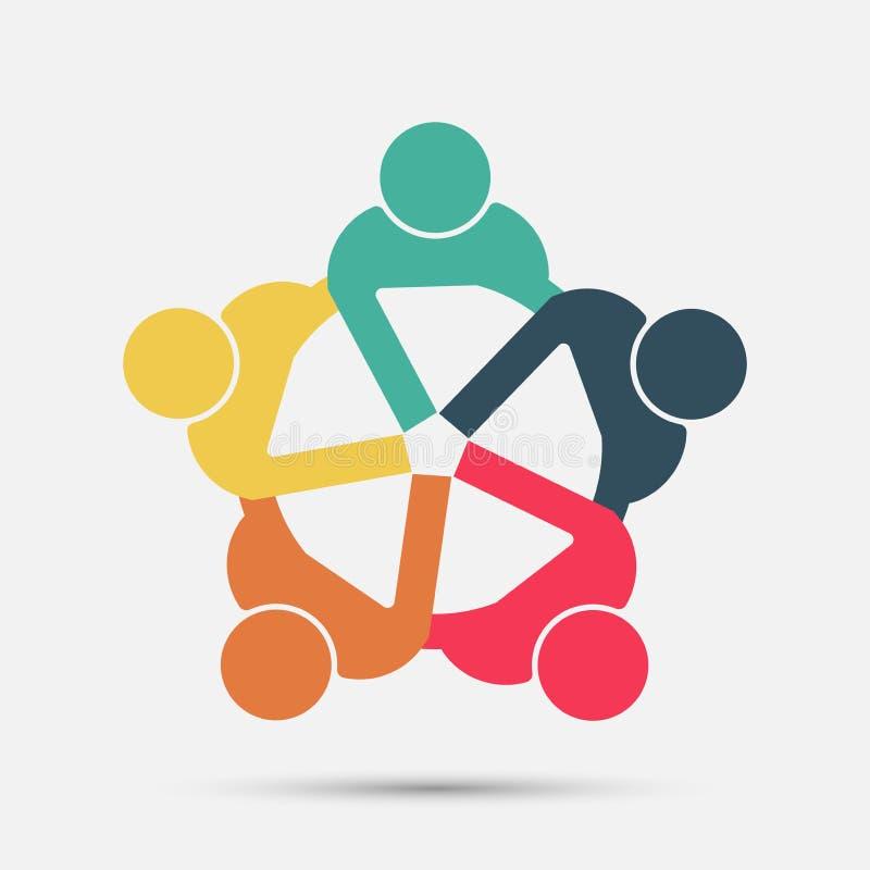 Het embleem van vergaderzaalmensen groep van vier personen in cirkel vector illustratie