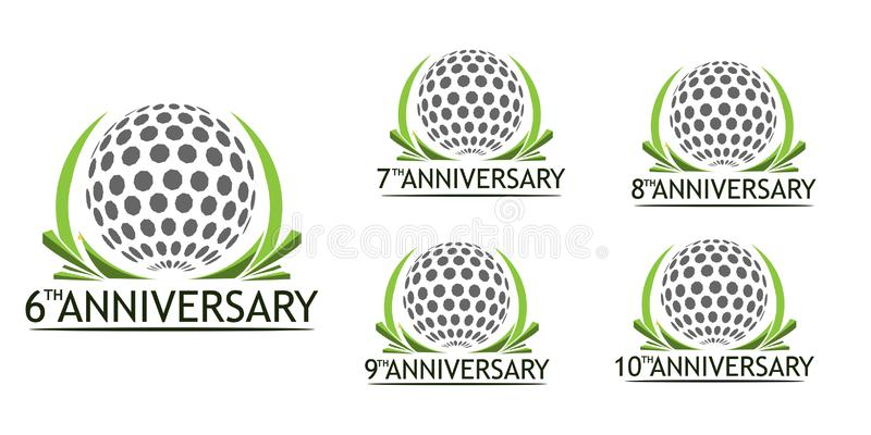 Het embleem van het verjaardagsgolf Reeks kleurenpictogrammen op wit wordt ge?soleerd dat stock illustratie