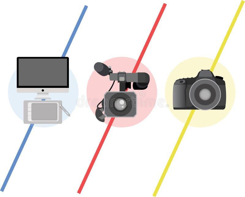 Het embleem van verschillende media royalty-vrije stock afbeeldingen