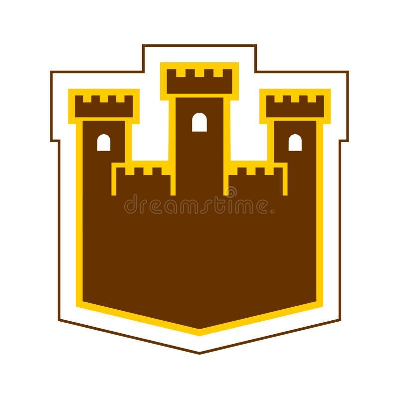 Het embleem van het vestingsteken Het symbool van de kasteeltoren Oud buitenpostpictogram stock illustratie