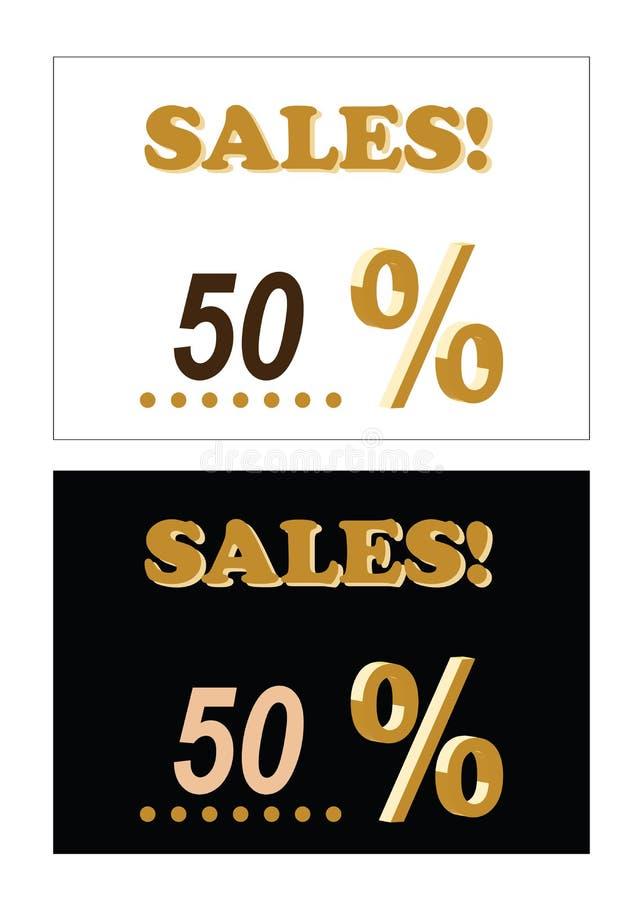 Het embleem van vijftig percentenverkoop - twee reeksen vector - het seizoengebonden korting winkelen vector illustratie