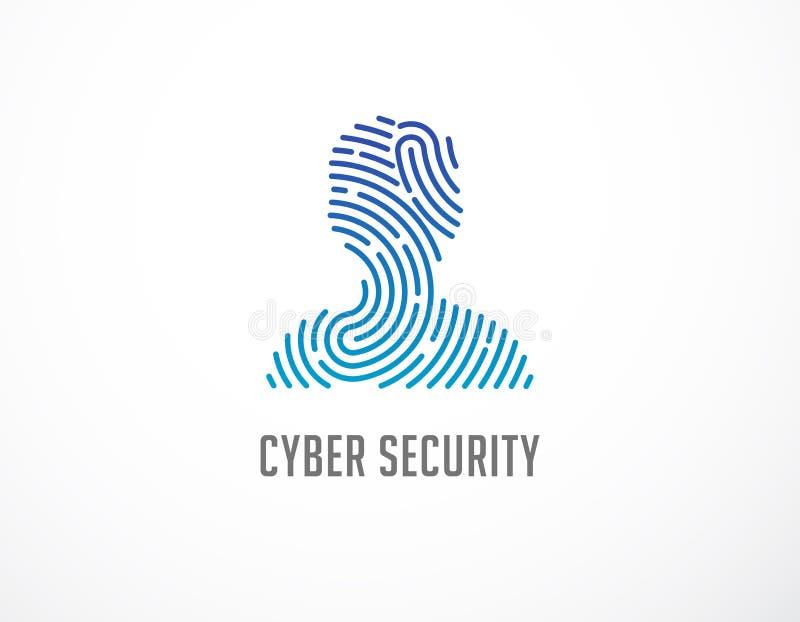 Het embleem van het vingerafdrukaftasten, privacy, cyber veiligheid, persoonshoofd, identiteitsinformatie en netwerkbescherming H stock illustratie