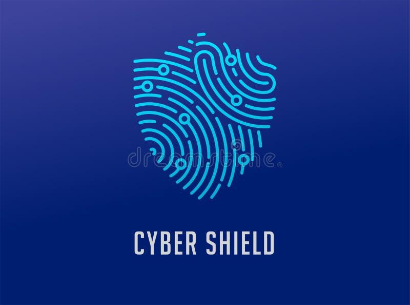 Het embleem van het vingerafdrukaftasten, privacy, schildpictogram, cyber veiligheid, identiteitsinformatie en netwerkbescherming vector illustratie