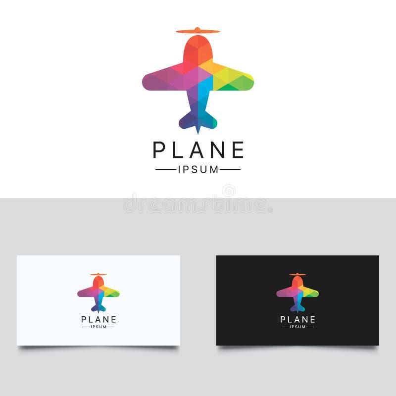 Het Embleem van het vliegtuig Kleurrijk Laag Polyvliegtuig Logo Design vector illustratie