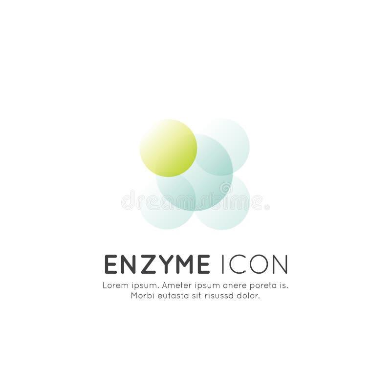 Het embleem van voedselsupplementen, ingrediënten en vitaminen en elementen voor biopakket etiketteert - Enzym stock afbeelding