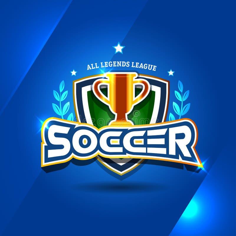 Het embleem van het voetbalvoetbal met gouden kop Het ontwerpmalplaatje van het voetbalkenteken, sport logotype Als thema gehade  royalty-vrije illustratie