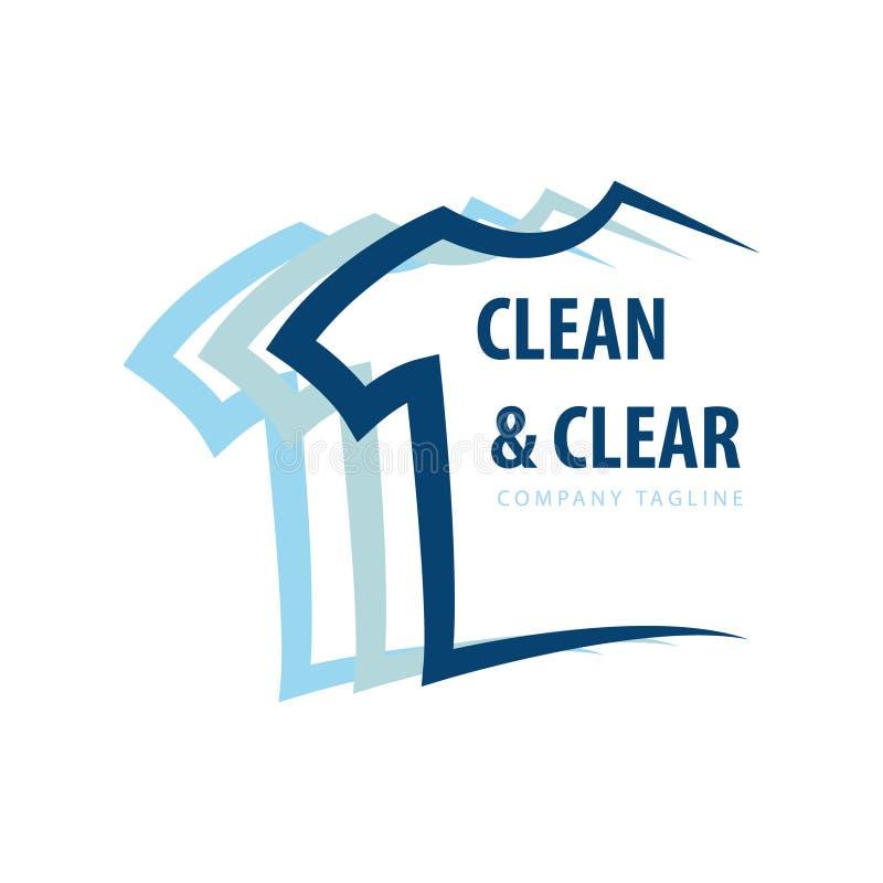 Het embleem van het wasserijontwerp met één of ander klerenconcept vector illustratie