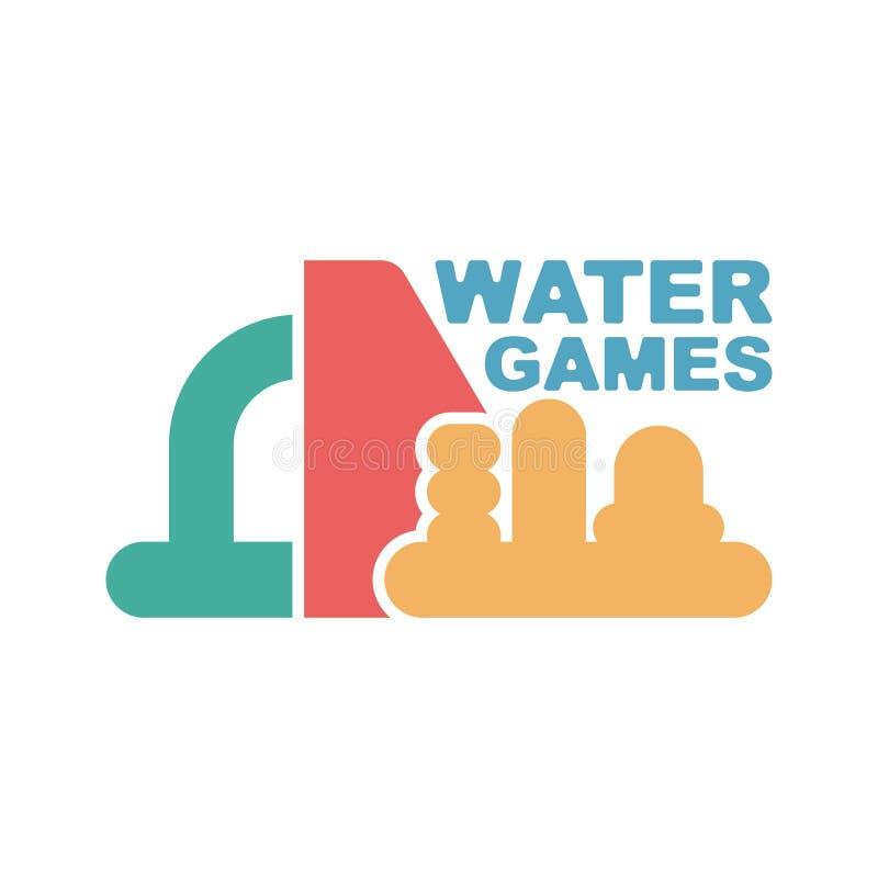 Het embleem van waterspelen Embleem voor Opblaasbare parkaantrekkelijkheid royalty-vrije illustratie