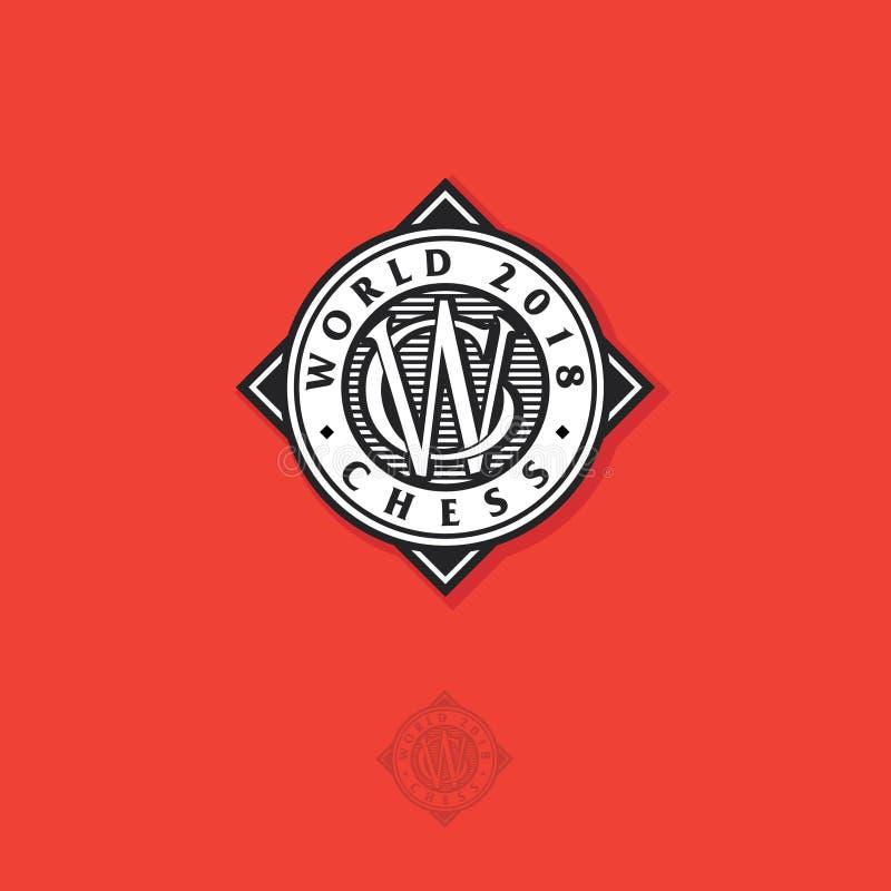 Het embleem van het wereldschaak of Schaaktoernooienembleem De gekruiste brieven C en W in de cirkel en het vierkant stock illustratie