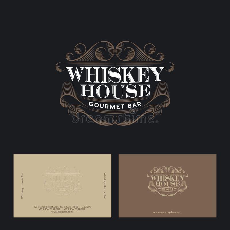 Het embleem van het whiskyhuis Uitstekend bar of barembleem Restaurantemblemen vector illustratie